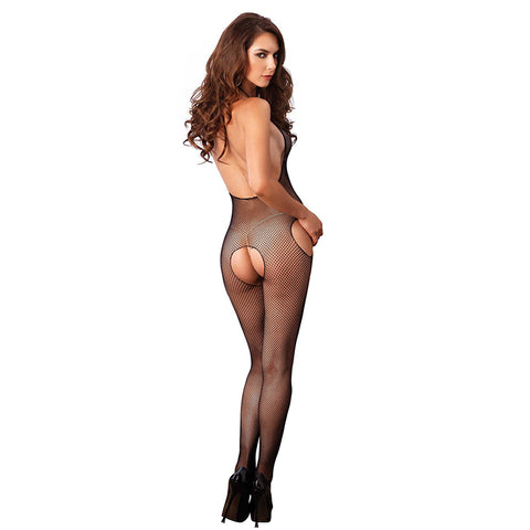 Leg Avenue Fishnet Crotchless Halter Suspender Bodystocking - Leggsbeautiful
