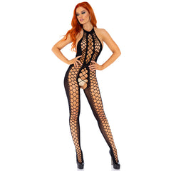 Leg Avenue Net Panel Crotchless Bodystocking With Halter Neck