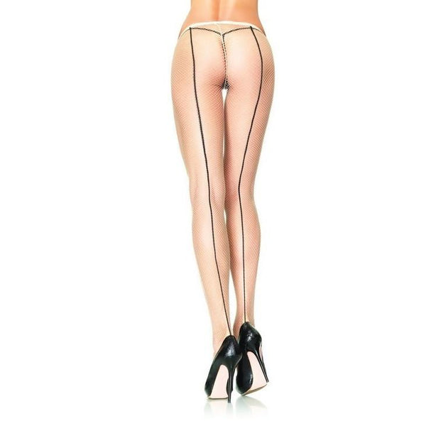 Leg Avenue Contrast Seam Fishnet Tights - Leggsbeautiful