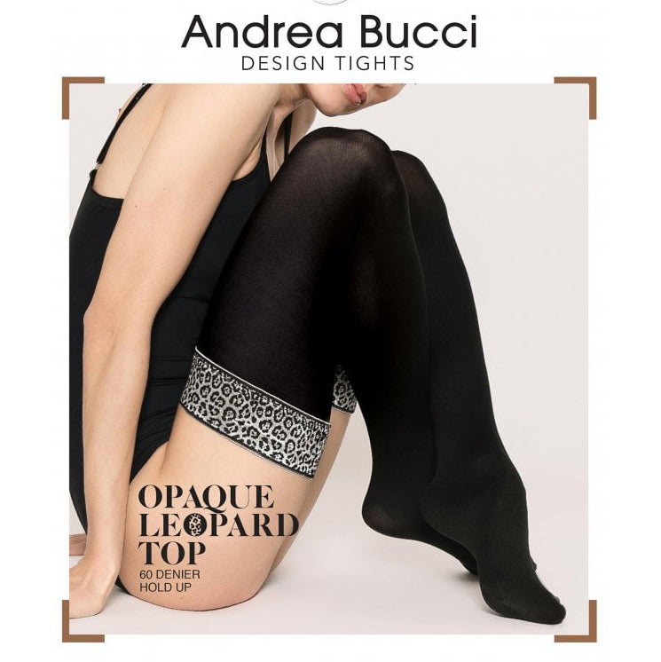 Andrea Bucci 60 Denier Leopard Top Opaque Hold Ups
