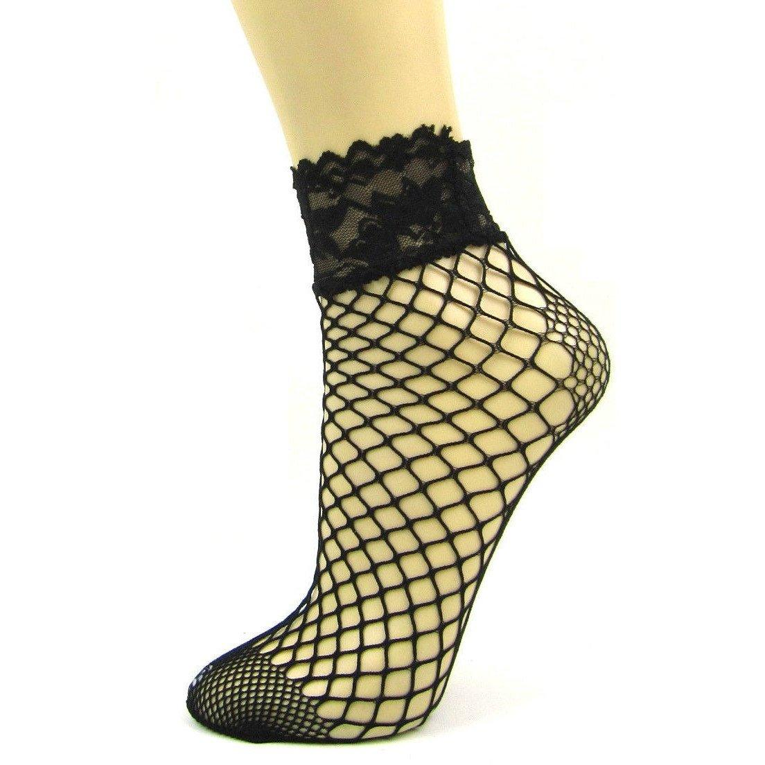 Big Net Lace Top Ankle Socks With Reinforced Toe - Leggsbeautiful