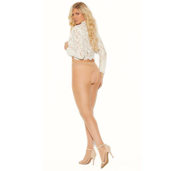 Elegant Moments Sheer Crotchless Tights Plus Size