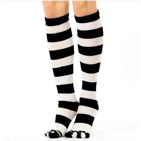 Cotton Blend Five Toe Knee Wide Stripe Knee Socks - Leggsbeautiful