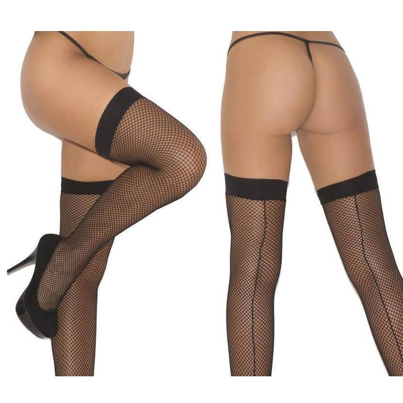 Leg Avenue Plain Top Backseam Fishnet Hold Ups - Leggsbeautiful