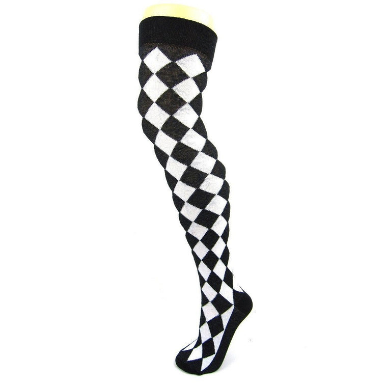 Cotton Blend Harlequin Diamond Over The Knee Socks