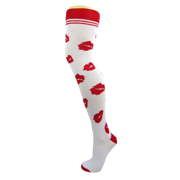Cotton Blend Lips Over The Knee Socks - Leggsbeautiful