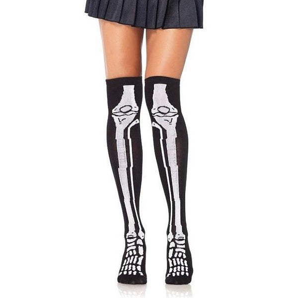 Cotton Blend Skeleton Print Over The Knee Socks - Leggsbeautiful