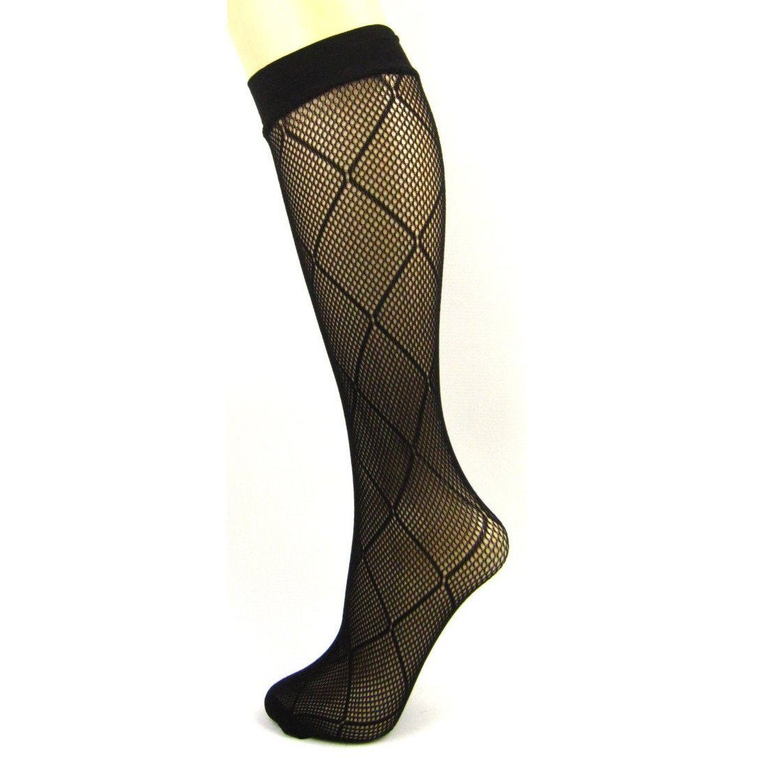 Criss Cross Net Knee High Socks - Leggsbeautiful