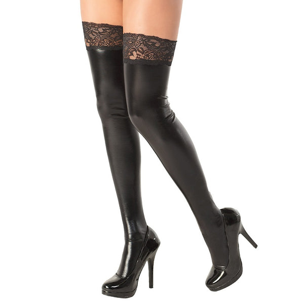 Coquette Wet Look Thigh Highs With Lace Top - Leggsbeautiful