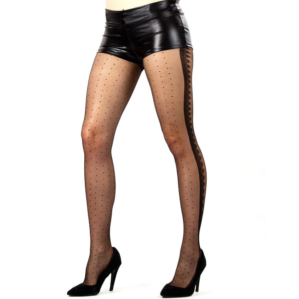 Sheer Dots Tights With Scalloped Side Seam - Leggsbeautiful