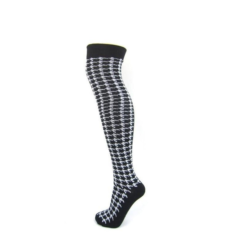 Dogtooth Over The Knee Boot Socks