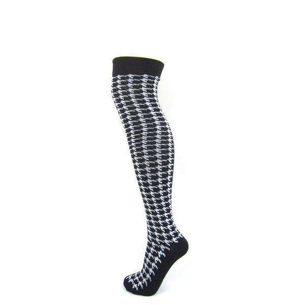 Dogtooth Over The Knee Boot Socks - Leggsbeautiful