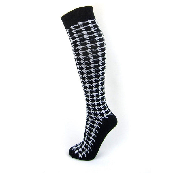 Cotton Blend Dogtooth Knee High Socks - Leggsbeautiful