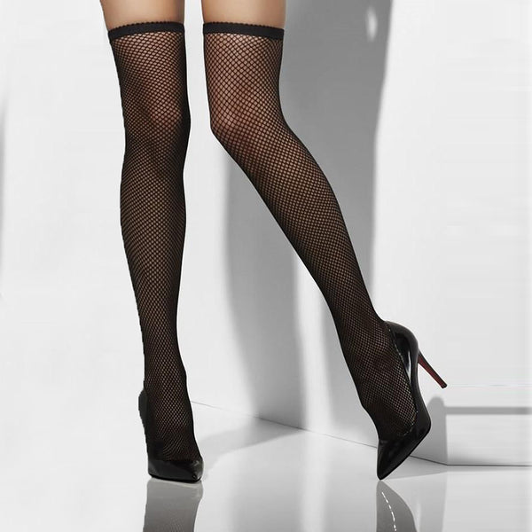 7f1fe01243d Pamela Mann Plus Size Seamed Lace Top Fishnet Hold Ups-Leggsbeautiful