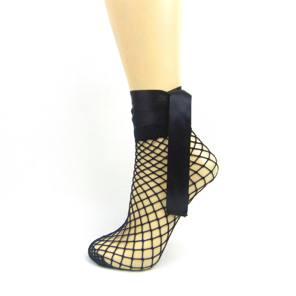 Fishnet Satin Bow Strap Ankle Socks - Leggsbeautiful