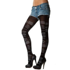 Leggsbeautiful 70 Denier Opaque Newsprint Tights - Leggsbeautiful