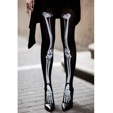 Leggsbeautiful 70 Denier Opaque Skeleton Bones Tights - Leggsbeautiful