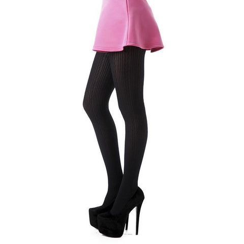 Flirt Smooth Knit Textured Opaque Tights - Leggsbeautiful