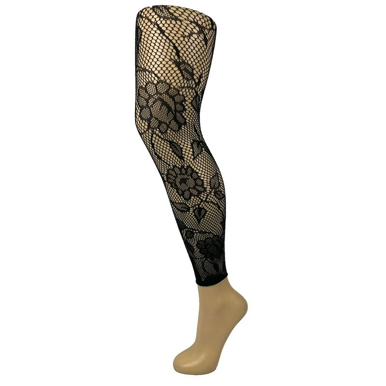 Floral Pattern Footless Net Tights