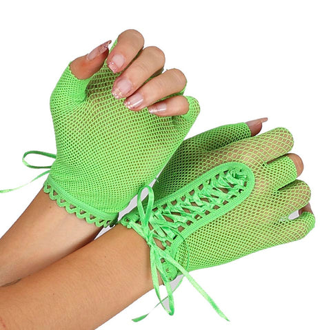 Classified Fingerless Fishnet Gloves With Lace Up Detail