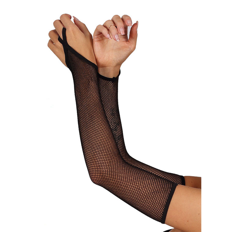Extra Long Fishnet Gloves With Finger Loop