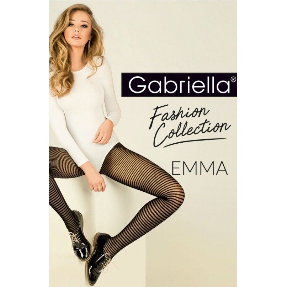 Gabriella Sheer Horizontal Contrast Stripe Tights - Leggsbeautiful