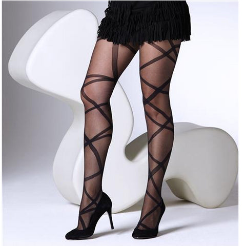 Gipsy 15 Denier Sheer Ribbon Wrap Tights - Leggsbeautiful
