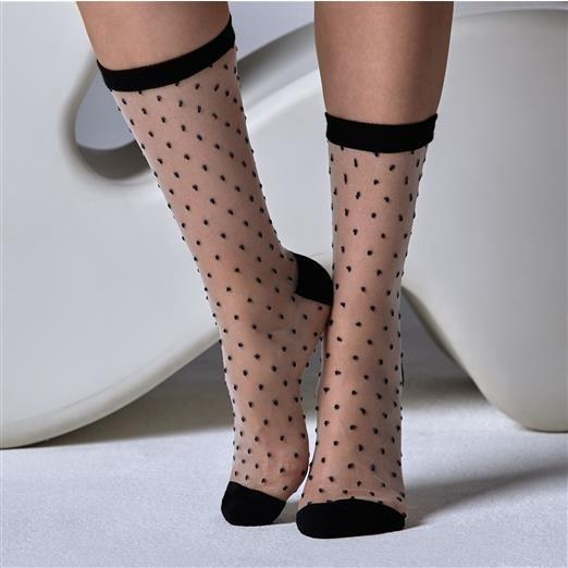 Gipsy Sheer Spot Ankle Socks With Solid Cuff - Leggsbeautiful