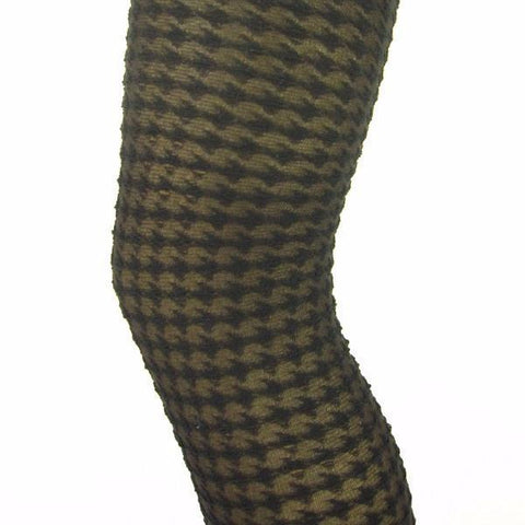 Music Legs Thick Dogtooth Opaque Tights - Leggsbeautiful