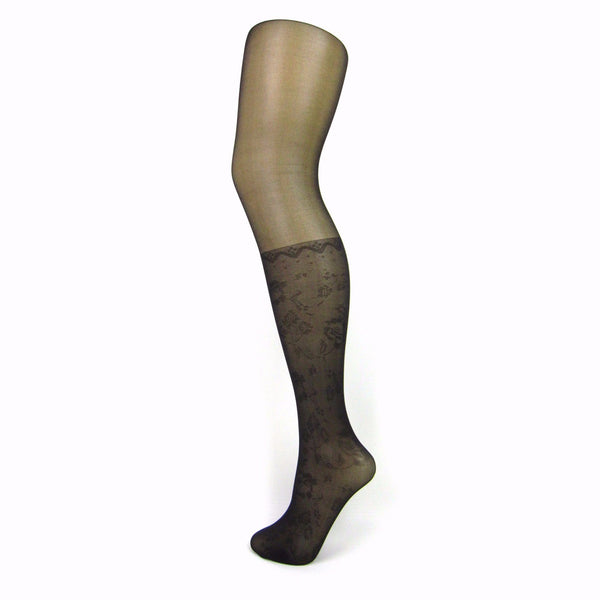 Leggsbeautiful Knee High Mock Stocking Tights With Floral Pattern - Leggsbeautiful