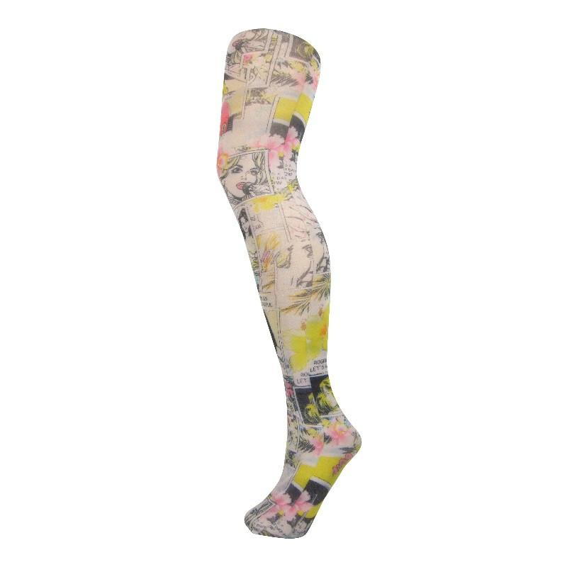 Semi Opaque Cartoon Comic Strip Printed Tights - Leggsbeautiful