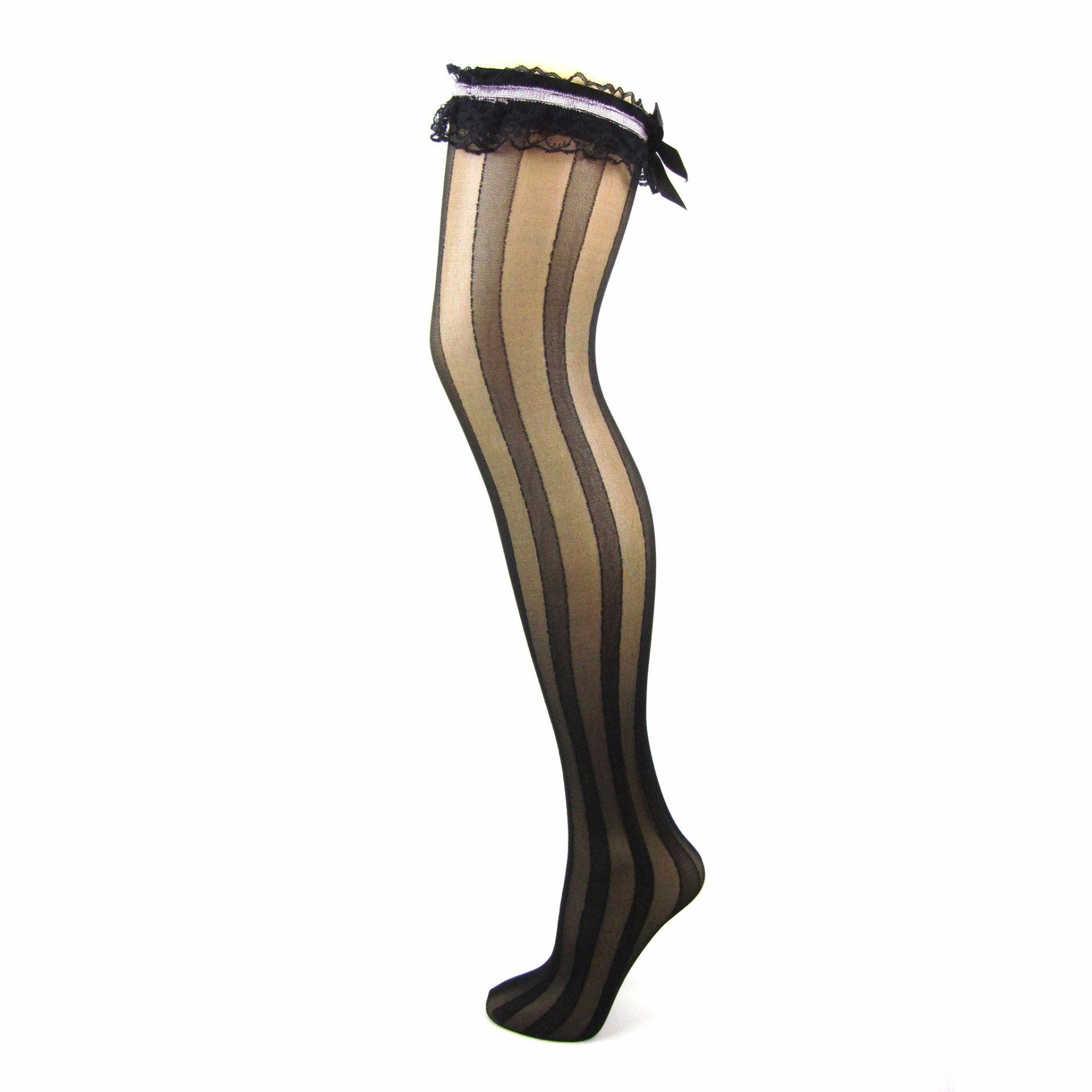 Sheer Vertical Stripe Frill Top Stockings - Leggsbeautiful