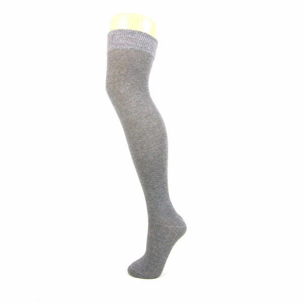 Plain Cotton Blend Over The Knee Socks - Leggsbeautiful