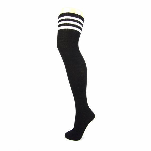 Cotton Blend 3 Stripe Soccer Style Over The Knee Socks - Leggsbeautiful