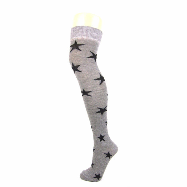 Cotton Over The Knee Socks With Star Pattern - Leggsbeautiful