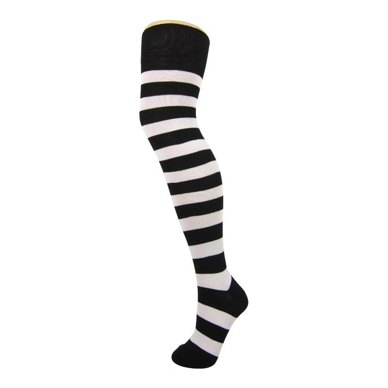 Soft Knit Cotton Blend Wide Stripe Over The Knee Socks
