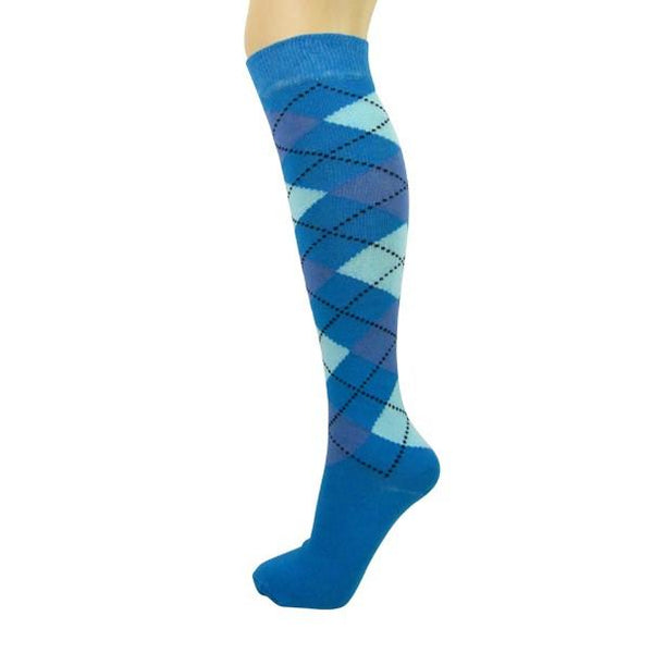 Cotton Blend Argyle Knee High Socks - Leggsbeautiful