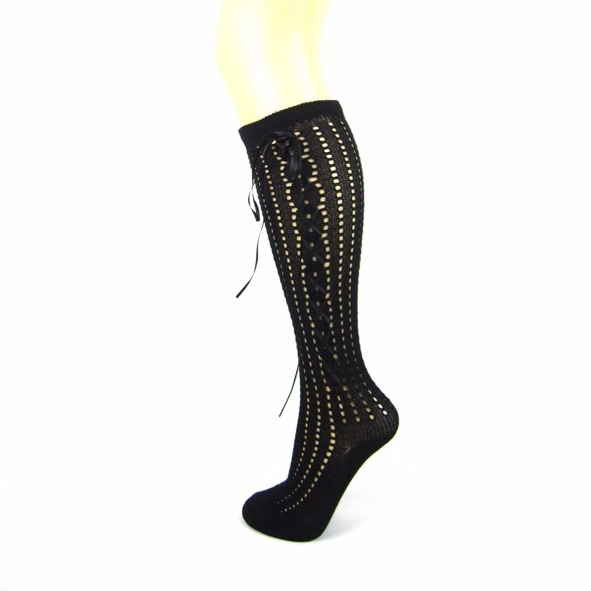 Cotton Blend Open Knit Knee High Socks - Leggsbeautiful