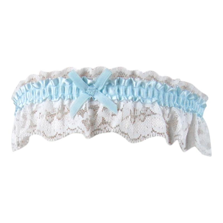 Vintage Style Lace Garter With Blue Trim