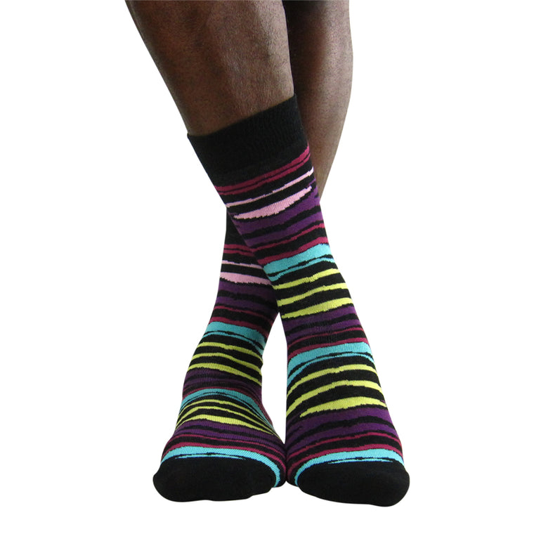 Luv Men's Cotton Blend Multi Zebra Ankle Socks