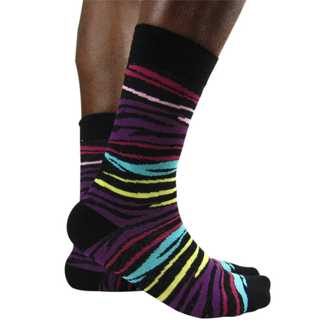Luv Men's Cotton Blend Multi Zebra Ankle Socks - Leggsbeautiful