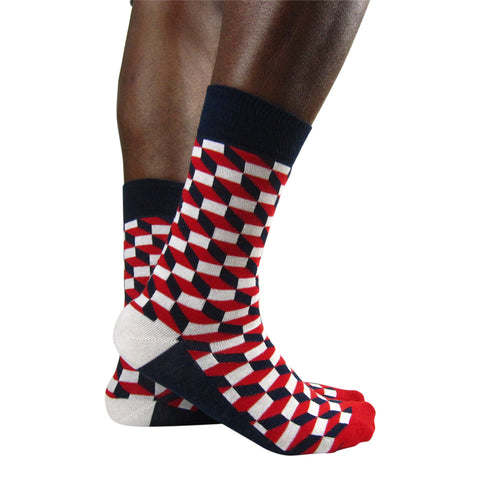 Luv Socks Men's Cotton Blend 3D Cube Ankle Socks - Leggsbeautiful