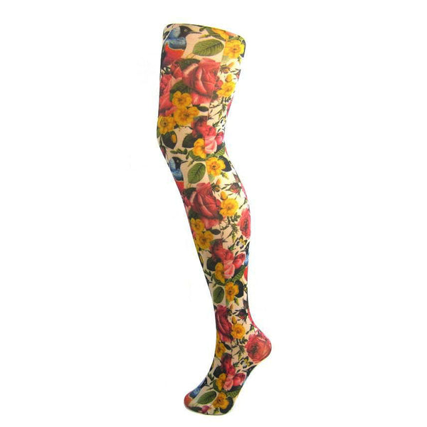 70 Denier Opaque Floral Bird Print Tights