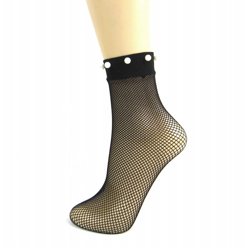 Silky Fishnet Ankle Socks With Pearl Embellished Trim - Leggsbeautiful