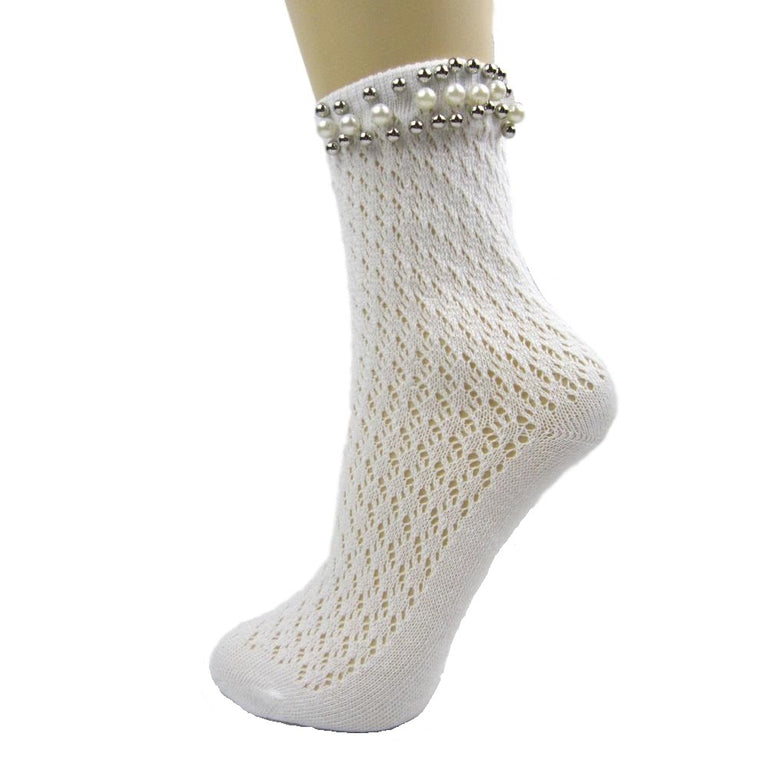 Acrylic Crochet Ankle Socks With Pearl Trim