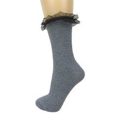 Milena Cotton Blend Mesh Frill Ankle Socks - Leggsbeautiful