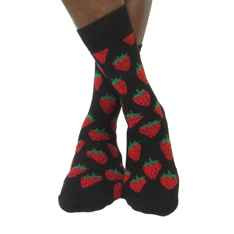 Luv Socks Men's Cotton Blend Strawberry Ankle Socks