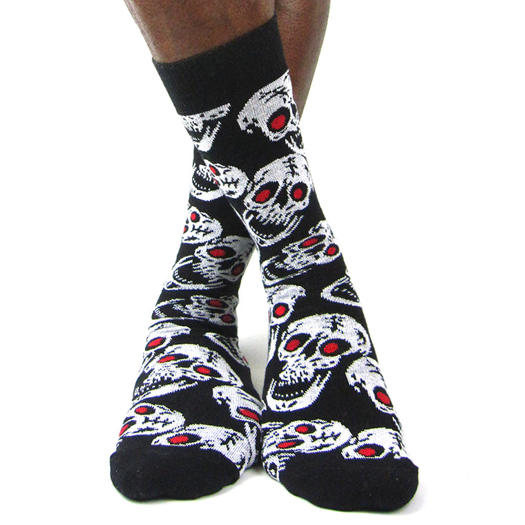 Luv Socks Men's Cotton Blend Skulls Ankle Socks