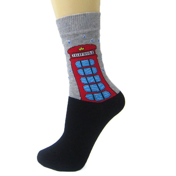 Cotton Blend London Phone Box Ankle socks - Leggsbeautiful