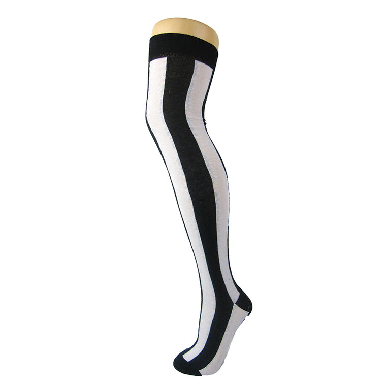 Cotton Blend Vertical Stripe Over The Knee Socks
